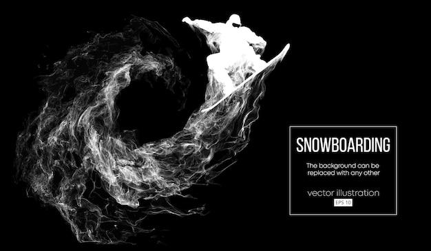 Абстрактный силуэт сноубордиста, прыжки изолированного