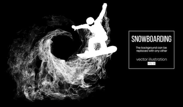 分離したジャンプスノーボーダーの抽象的なシルエット