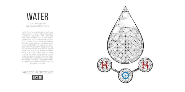 물, h2o 공식의 화학 구조의 추상 실루엣