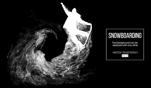 Abstract silhouette of a snowboarder jumping isolated