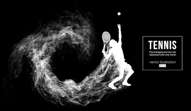 Abstract silhouette of a tennis player man illustration