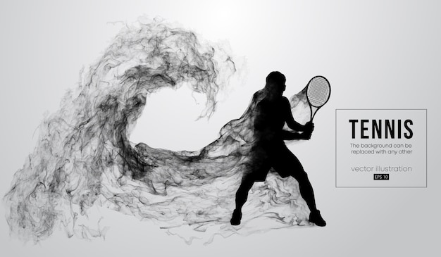 Abstract silhouette of a tennis player man