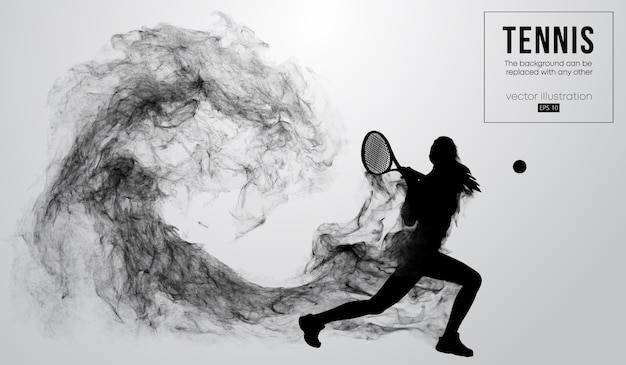 Abstract silhouette of a tennis player woman illustration