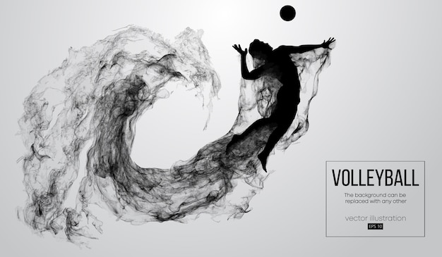 Abstract silhouette of a volleyball player man illustration