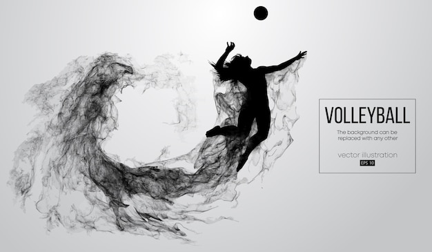 Abstract silhouette of a volleyball player woman illustration