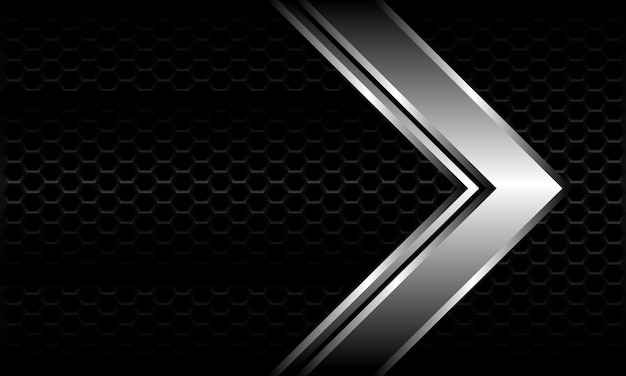 Abstract silver arrow direction on black hexagon mesh pattern metallic design modern luxury futuristic background.