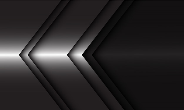 Abstract silver arrow direction on black modern luxury futuristic background.