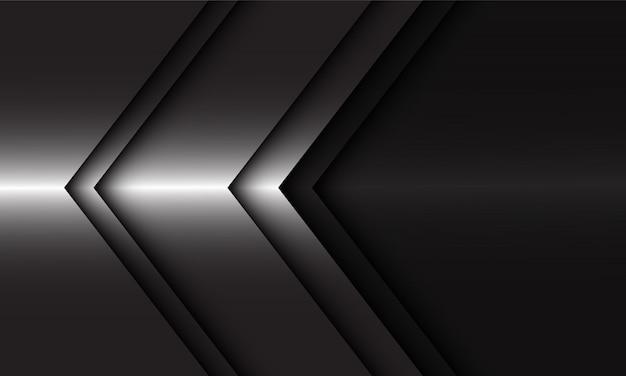 黒のモダンで豪華な未来的な背景に抽象的な銀の矢の方向。
