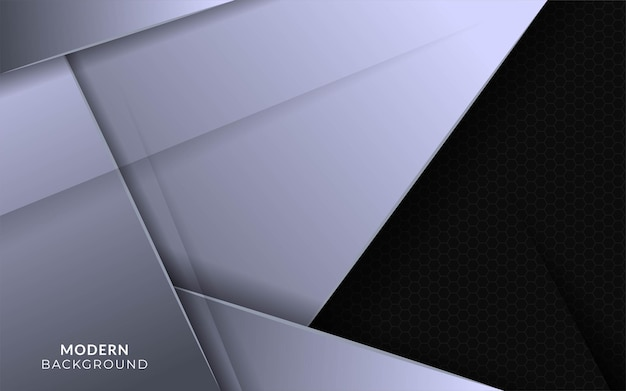 Abstract silver background banner design in hexagon texture