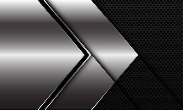 검은 원 메쉬 디자인에 추상 실버 블랙 라인 화살표 방향