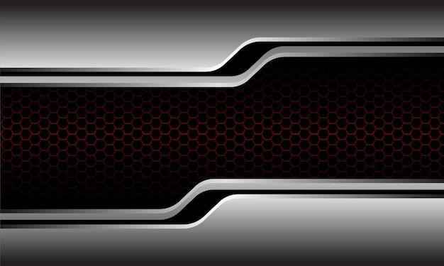 ダークレッドの六角形メッシュのモダンで豪華な未来的な背景に抽象的なシルバーブラックラインサイバー