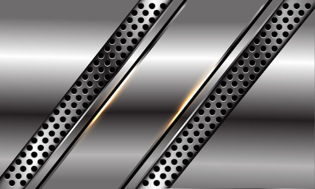 Abstract silver black line slash on circle mesh design modern luxury futuristic background.