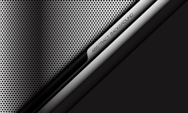 추상 은색 원 메쉬 검정 사이버 라인 슬래시는 회색 빈 공간이 현대적인 미래형입니다.