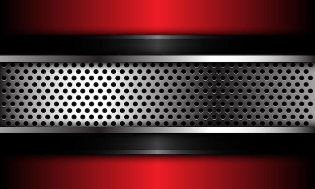 黒赤メタリックの未来的な背景に抽象的なシルバーサークルメッシュ。