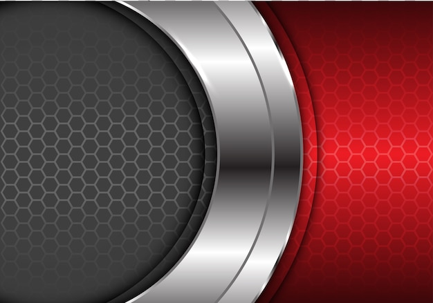 Abstract silver curve center red gray hexagon futiristic background.
