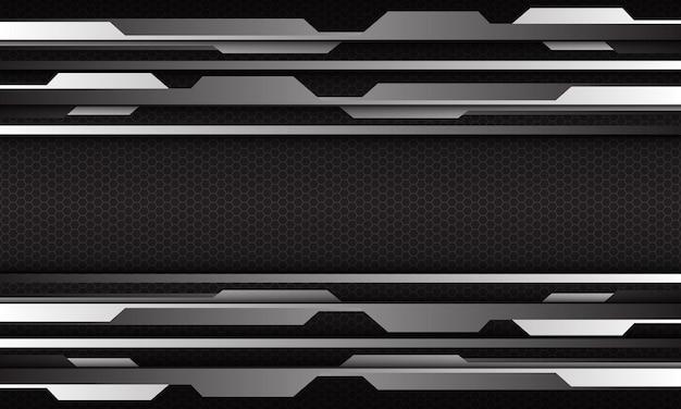 Abstract silver cyber geometric on hexagon mesh design modern futuristic background