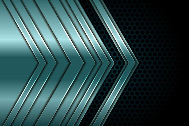 抽象的なシルバーグリーンの矢印が白い光と円の組み合わせデザインモダンで豪華な未来技術の背景と黒に重なる
