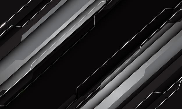 抽象シルバーグレーブラックメタリック幾何学技術サイバー回路ライン未来的なスラッシュデザインモダン