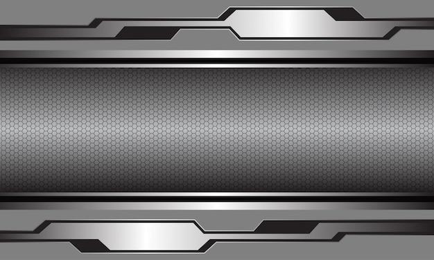 Абстрактный серебристо-серый глянцевый металлик кибер черный шестиугольника сетки роскошный футуристический фон.