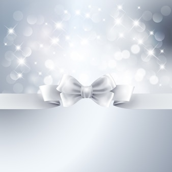 Abstract silver light background with white ribbon