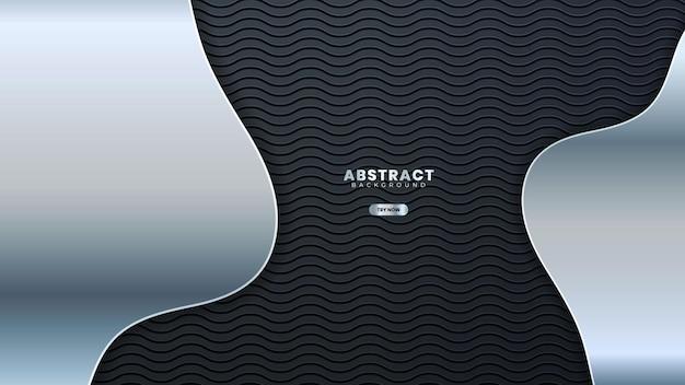 Абстрактная серебряная линия баннера на темно-серой металлической кривой дизайн современной роскоши футуристический фон векторные иллюстрации