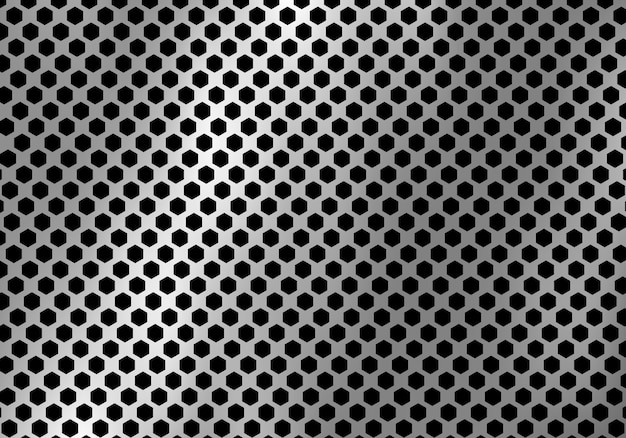 Abstract silver metal background hexagon pattern texture