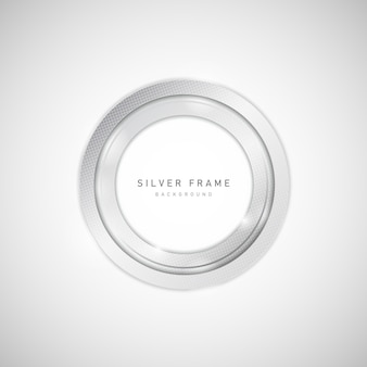 Abstract silver metal of circle frame  with halftone and glare  element.