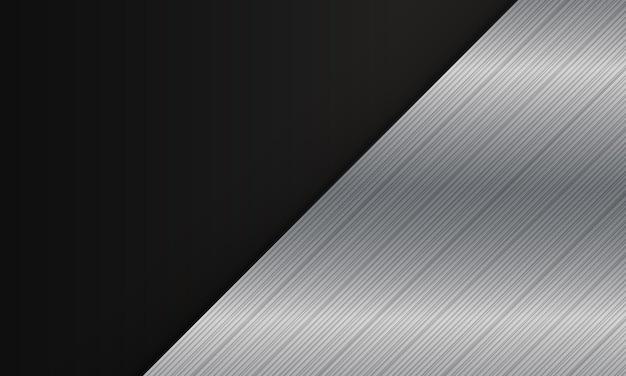 黒の背景に抽象的なシルバーメタリック対角線。あなたのためのエレガントなデザインバナーウェブ。