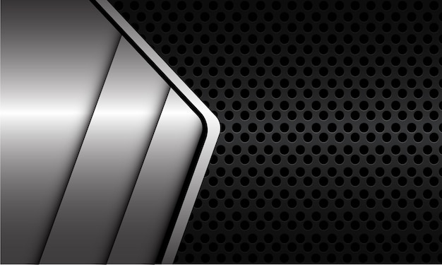 어두운 회색 금속 원 메쉬 현대적인 고급 미래 기술 배경에 기하학적 추상 은색 금속 선 그림자