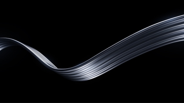 Abstract silver wave isolated on black background. metallic wires.  illustration