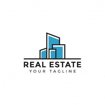 Abstract simple colorful real estate logo line template
