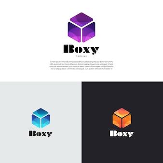 추상 간단한 큐브 상자 로고 디자인 서식 파일