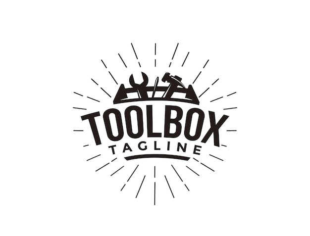 Abstract simple industrial mechanic toolbox logo