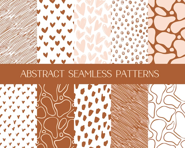 Abstract simple patterns, seamless backgrounds Free Vector