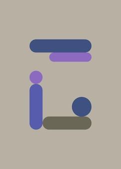 抽象的なシンプルな紫、灰色、青の形の背景ポスター
