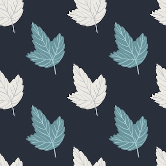 Abstract simple seamless pattern wih blue and white outline leaves. navy blue dark background. perfect for fabric design, textile print, wrapping.