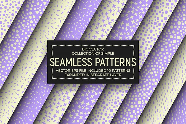 Abstract simple seamless patterns set