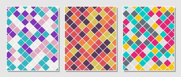 추상 간단한 설정된 다채로운 사각형 패턴 배경입니다. 벡터 일러스트 레이 션.