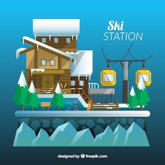Progettazione astratta della stazione sciistica con la casa di legno