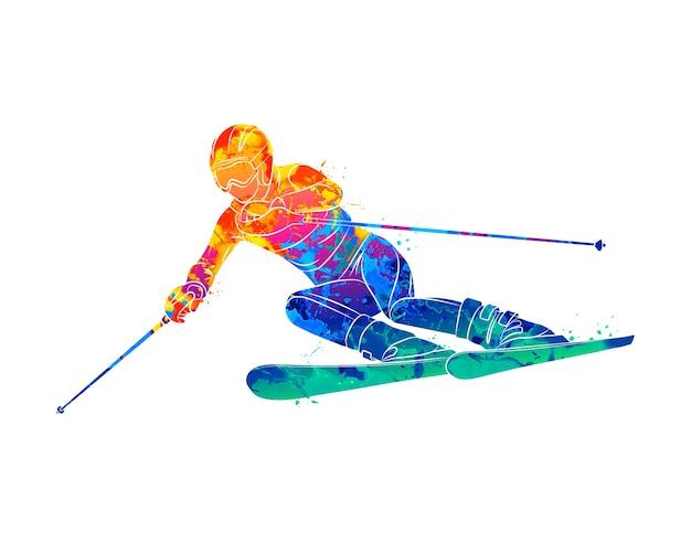 Абстрактное катание на лыжах. спуск лыжника-гиганта слалома из всплесков акварели. зимние виды спорта. иллюстрация красок
