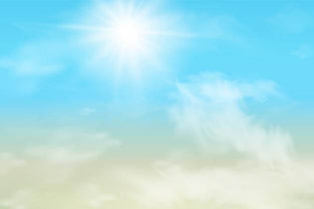 雲と抽象的な空。柔らかなパステルカラーの太陽と雲の背景。カラフルな曇り晴れた空、ふわふわの雲とファンタジーの魔法の風景の背景。