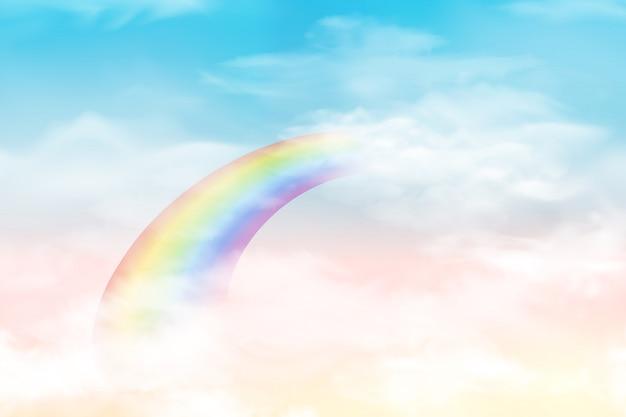 色の雲と抽象的な空。柔らかなパステルカラーの太陽と雲の背景。カラフルな曇り晴れた空、現実的な明るい虹、ふわふわの雲とファンタジーの魔法の風景の背景。