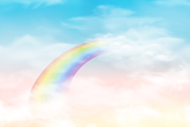 Abstract sky with color clouds. sun and clouds background with a soft pastel color. fantasy magical landscape background with colorful cloudy sunny sky, realistic bright rainbow, fluffy cloud.