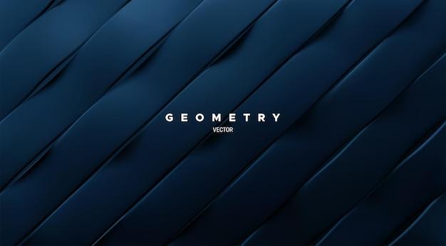 斜めの波状の紺色のリボンと抽象的なスライスされた幾何学的な背景