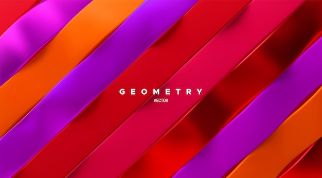 Абстрактный нарезанный геометрический фон с наклонными волнистыми разноцветными лентами
