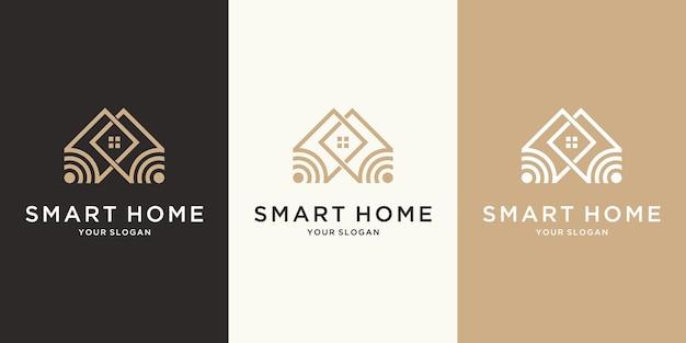 ラインアートスタイルの抽象的なスマートホームテックロゴ
