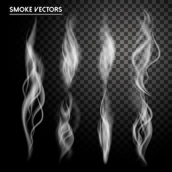 透明な背景の上に設定された抽象的な煙要素コレクション