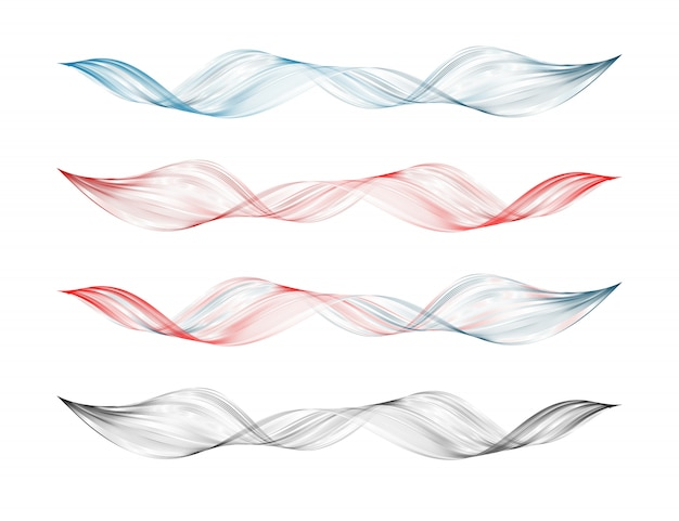 Abstract smooth curved line design element set