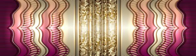 그라데이션 보라색과 금색 흐림 패턴 배경에 부드러운 개요