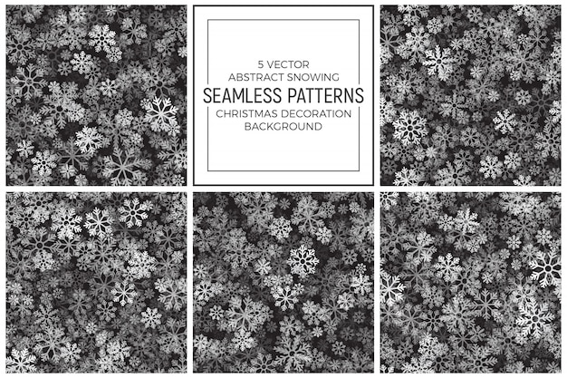 Abstract snow seamless patterns set